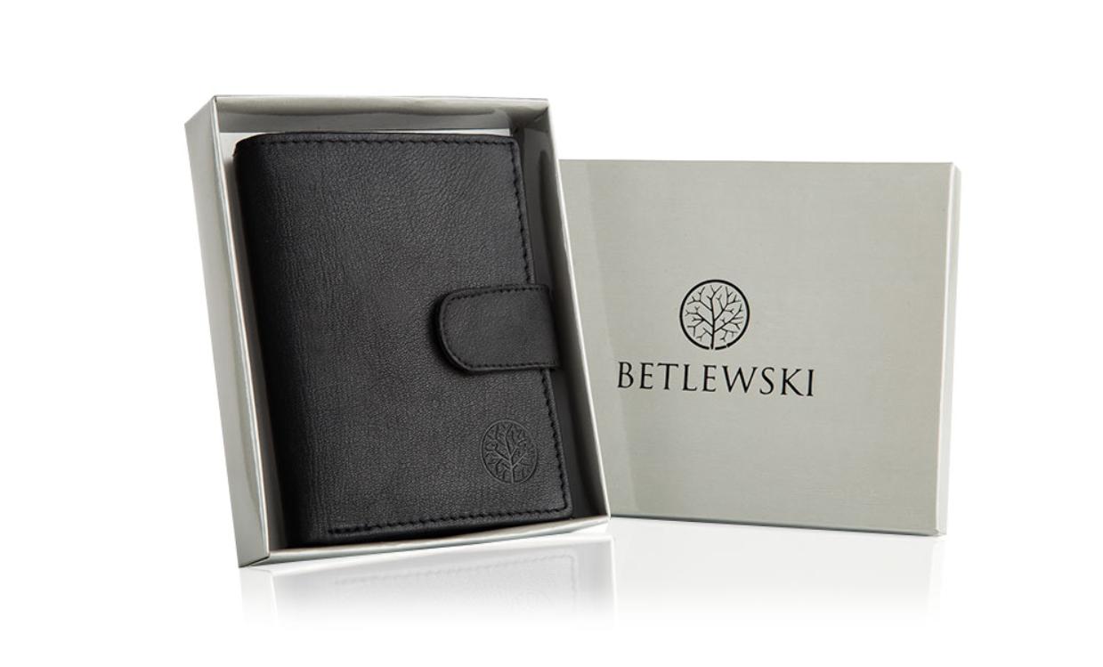 Шкіряний гаманець натуральна шкіра BETLEWSKI з RFID 9,5 х 12,5 х 2 (ТРМ-KZ-67)- чорний
