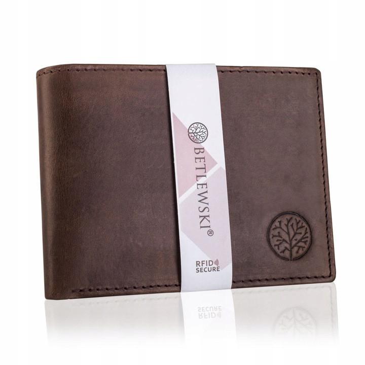 Шкіряний гаманець BETLEWSKI з RFID 9,5 х 12,5 х 2,5 (BPM-HT-60A) - коричневий