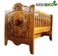 """Красивая резная кроватка \ колыбель для младенца из натурального дерева """"Ангел""""."""