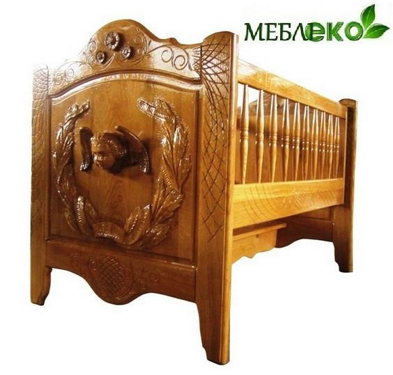 """Красивая резная кроватка \ колыбель для младенца из натурального дерева """"Ангел"""". - МебліЕко в Мукачево"""