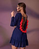 Туника пляжная с открытой спиной, цвет - темно синий., фото 1