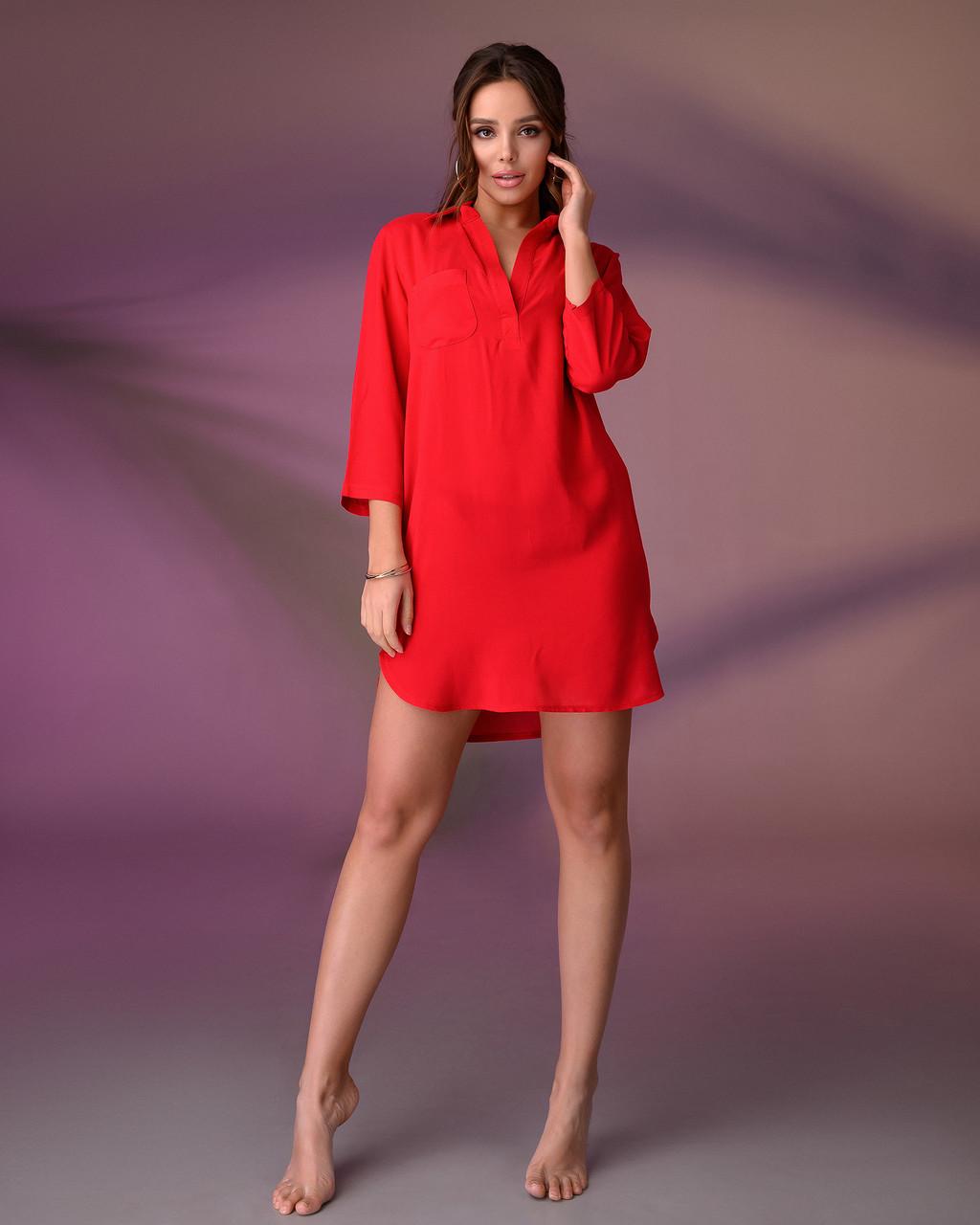 Пляжна туніка сорочка, колір - червоний. Розмір S