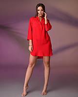 Пляжная туника рубашка, цвет - красный.