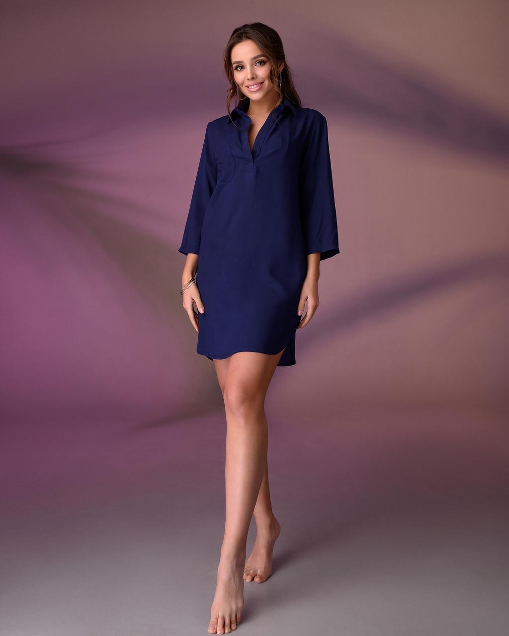 Пляжна туніка сорочка, колір - темно-синій розмір L