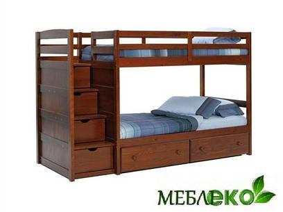 """Детская двухъярусная кровать """"Шуфлядка"""" из натурального дерева с ящиками для постели и игрушек."""