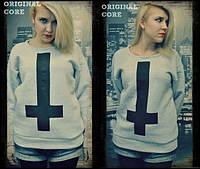 Свитшот женский серый/черный с крестом