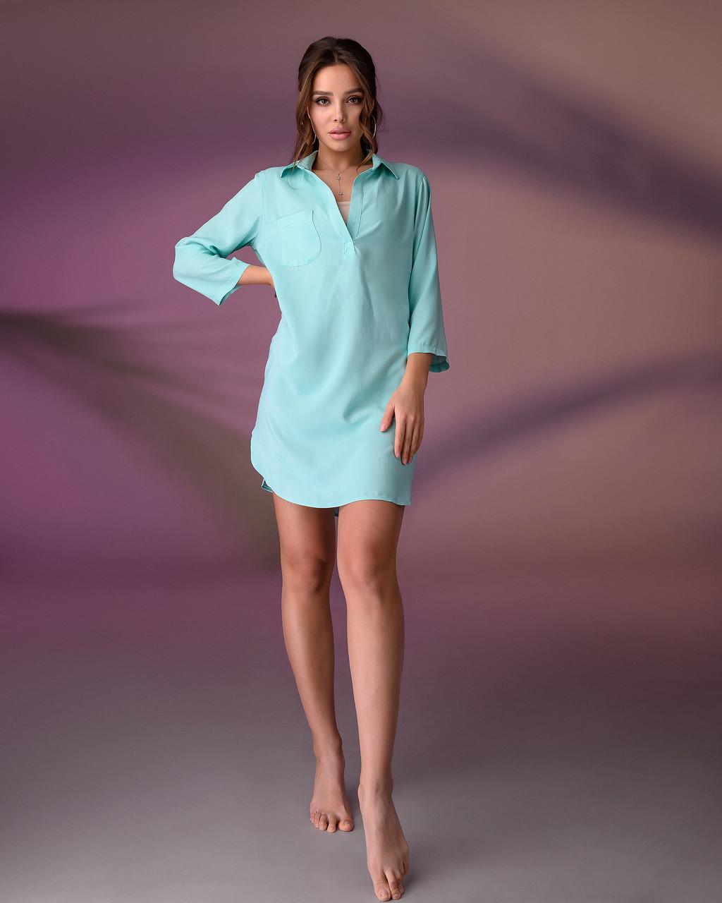 Пляжная туника рубашка, цвет - мята.