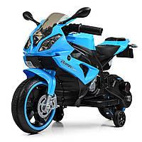 Детский электромобиль Мотоцикл с подсветкой колес M 4103-4 синий