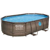 Bestway Каркасный бассейн Bestway Ротанг 56946 (488х305х107) с песочным фильтром, фото 1