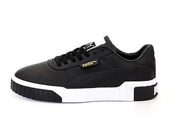Мужские кроссовки Puma Cali 'Black/White'  (Premium-lux) черные