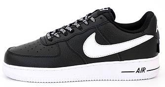 Мужские кроссовки Nike Air Force 1 'Black/White' (Premium-lux) черно-белые