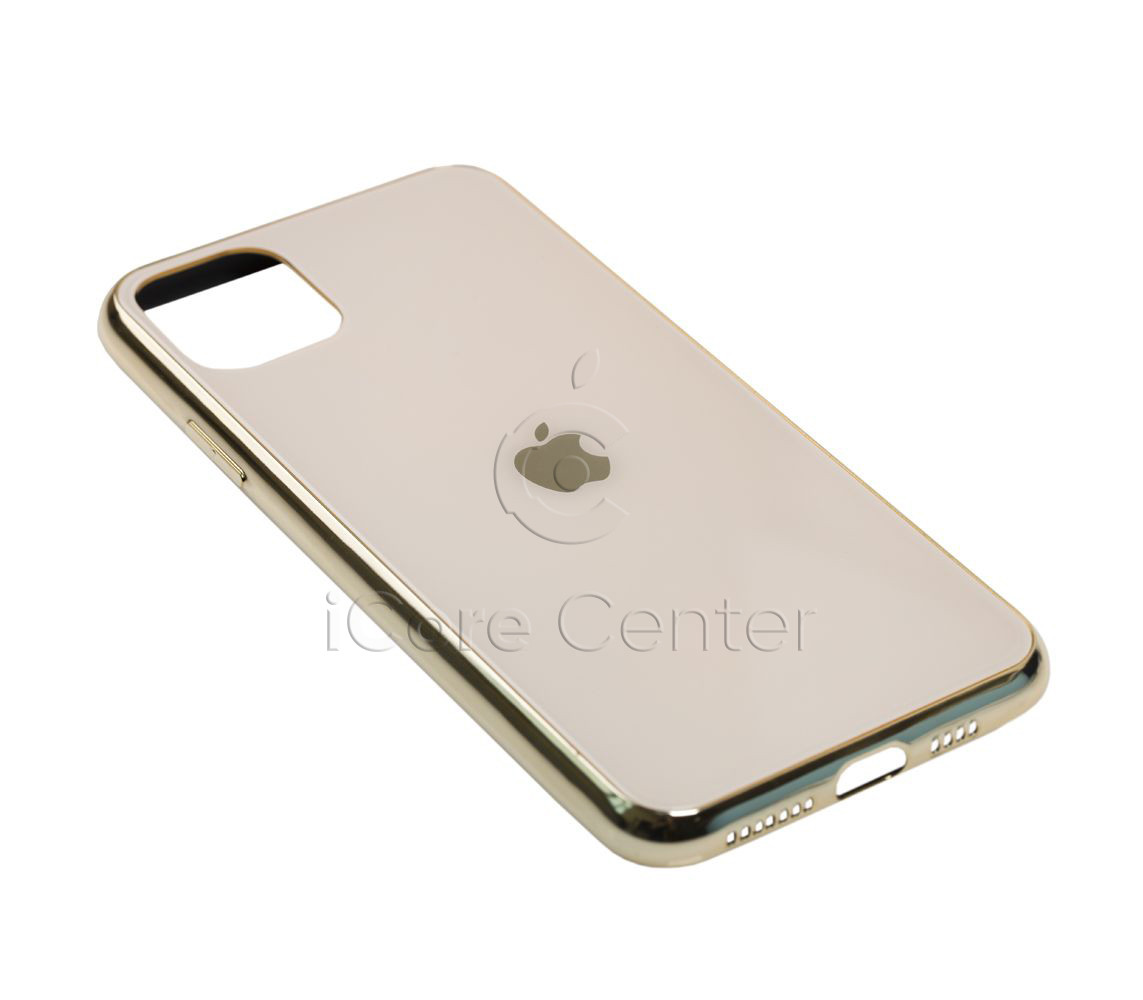 Чохол для iPhone 11 Pro Max Glass Case Logo Золотистий