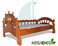 """Кровать детская \ подростковая для мальчика  из натурального дерева""""Шхуна""""."""