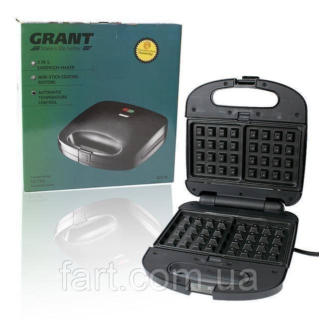 Мультимейкер 3 в 1, гриль, вафельница, сендвичница Grant GT-780 800W Черная