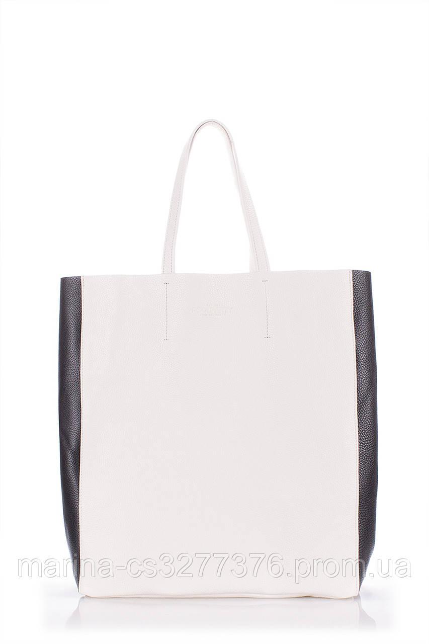 Кожаная сумка POOLPARTY City белая с черными вставками женская