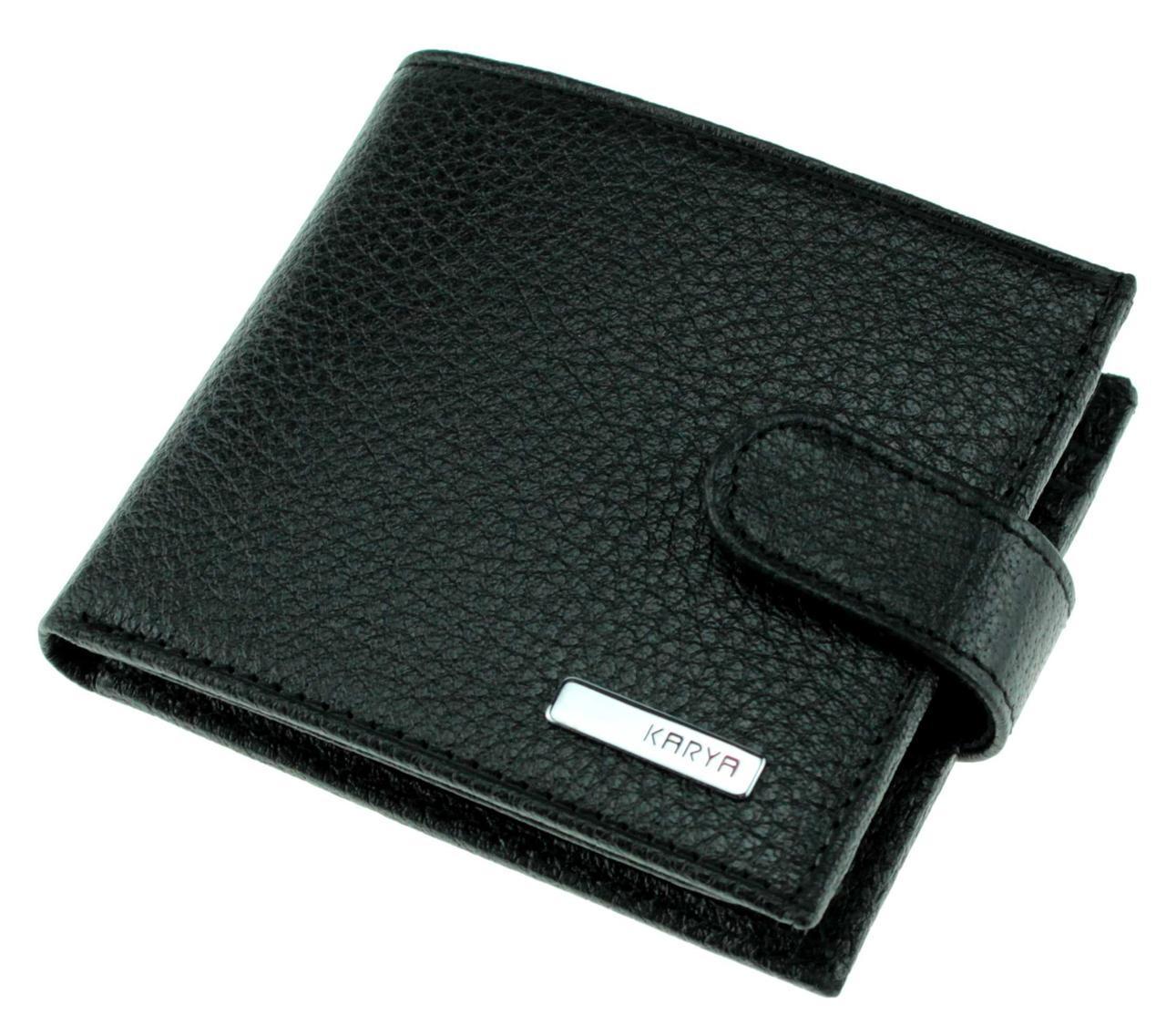 Маленький мужской кошелек Karya 0437-45 кожаный черный