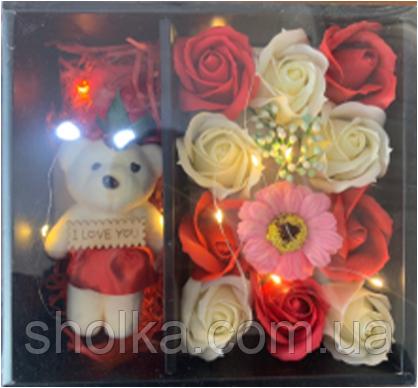 Подарочный набор мыла из роз С МИШКОЙ XY19-79