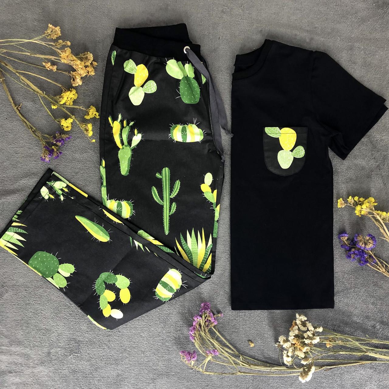 Мужской домашний костюм, мужская пижама (футболка и брюки) черная Кактусы, размер M