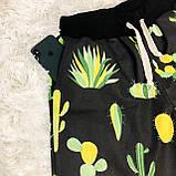 Мужской домашний костюм, мужская пижама (футболка и брюки) черная Кактусы, размер M, фото 4