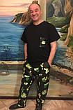 Мужской домашний костюм, мужская пижама (футболка и брюки) черная Кактусы, размер M, фото 5