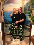 Мужской домашний костюм, мужская пижама (футболка и брюки) черная Кактусы, размер M, фото 6