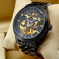 Механические мужские наручные часы скелетоны Tissot A188 Skeleton черного цвета с автоподзаводом