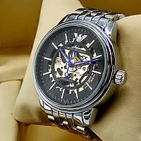 Механические мужские наручные часы скелетоны Emporio Armani A189 серебро с автоподзаводом черный циферблат