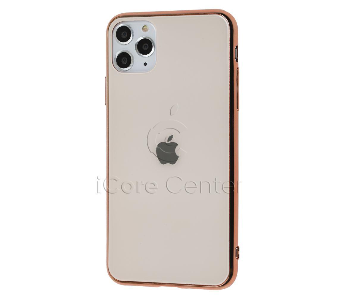 Чехол для iPhone 11 Glass Case Logo розово-золотистый