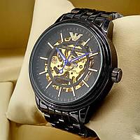 Механические мужские наручные часы скелетоны Emporio Armani A189 черного цвета с автоподзаводом