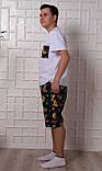 Мужской домашний костюм, мужская пижама (футболка и шорты) Ленивцы, размер L, фото 3