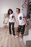 Мужской домашний костюм, мужская пижама (футболка и шорты) Ленивцы, размер L, фото 6
