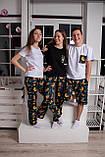 Мужской домашний костюм, мужская пижама (футболка и шорты) Ленивцы, размер L, фото 7