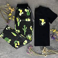 Женский домашний костюм, женская пижама (футболка и брюки) черная Кактусы, размер 2XL