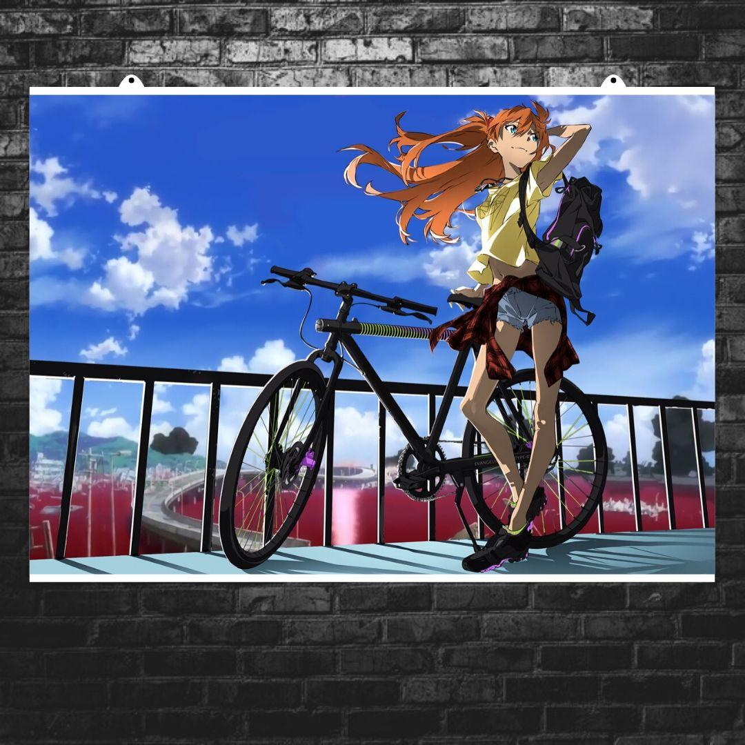 "Плакат ""Neon Genesis Evangelion, Евангелион. Асука с велосипедом"",аниме. Размер 60x43см (A2). Глянцевая бумага"
