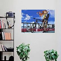 "Плакат ""Neon Genesis Evangelion, Евангелион. Асука с велосипедом"",аниме. Размер 60x43см (A2). Глянцевая бумага, фото 3"