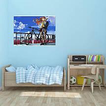 "Плакат ""Neon Genesis Evangelion, Евангелион. Асука с велосипедом"",аниме. Размер 60x43см (A2). Глянцевая бумага, фото 2"
