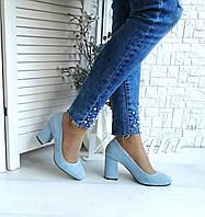 Голубые замшевые туфли на высоком каблуке, фото 1