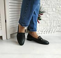 Зеленые кожаные туфли - лоферы, фото 1