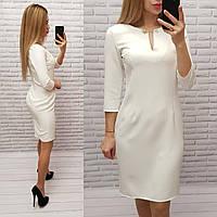 Платье с булавкой ( арт. 805 ), ткань креп, цвет молочный