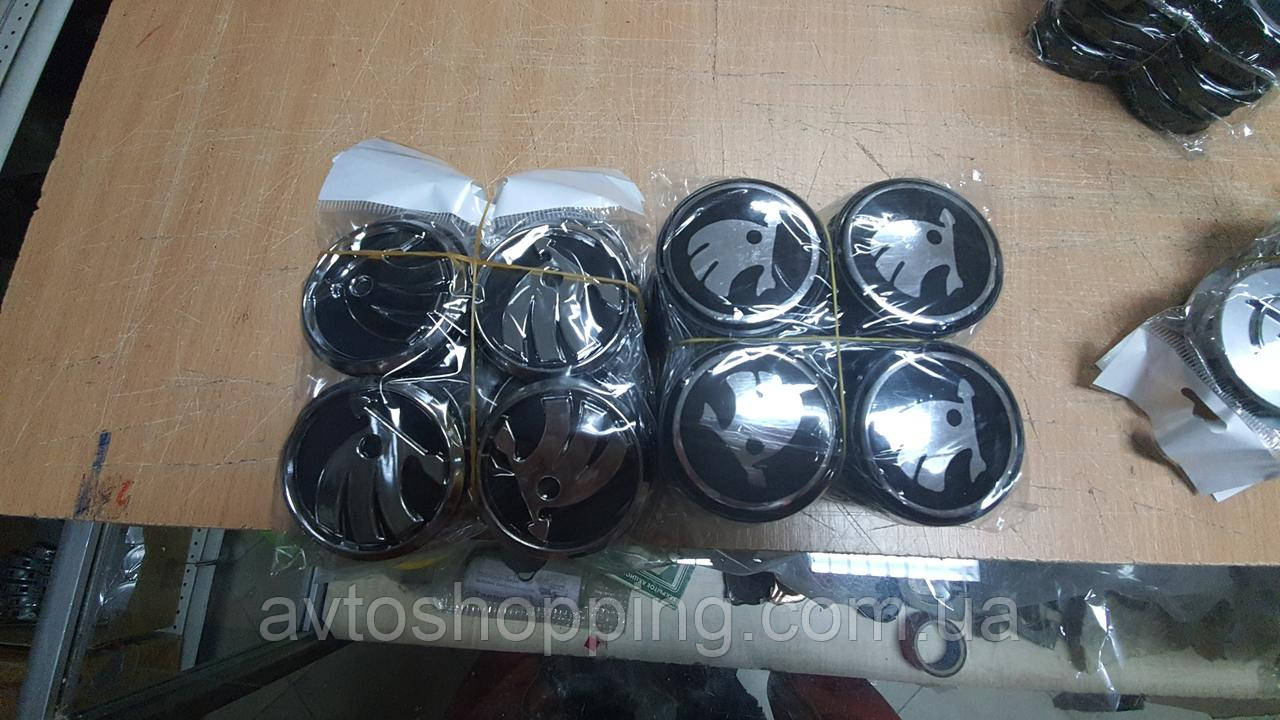 Колпачки, заглушки на диски Skoda Шкода 60 мм / 56 мм  черная нового образца