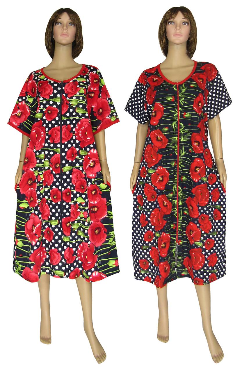 Халат женский летний домашний 18013 Flat Color Batal коттон Черный с красными маками