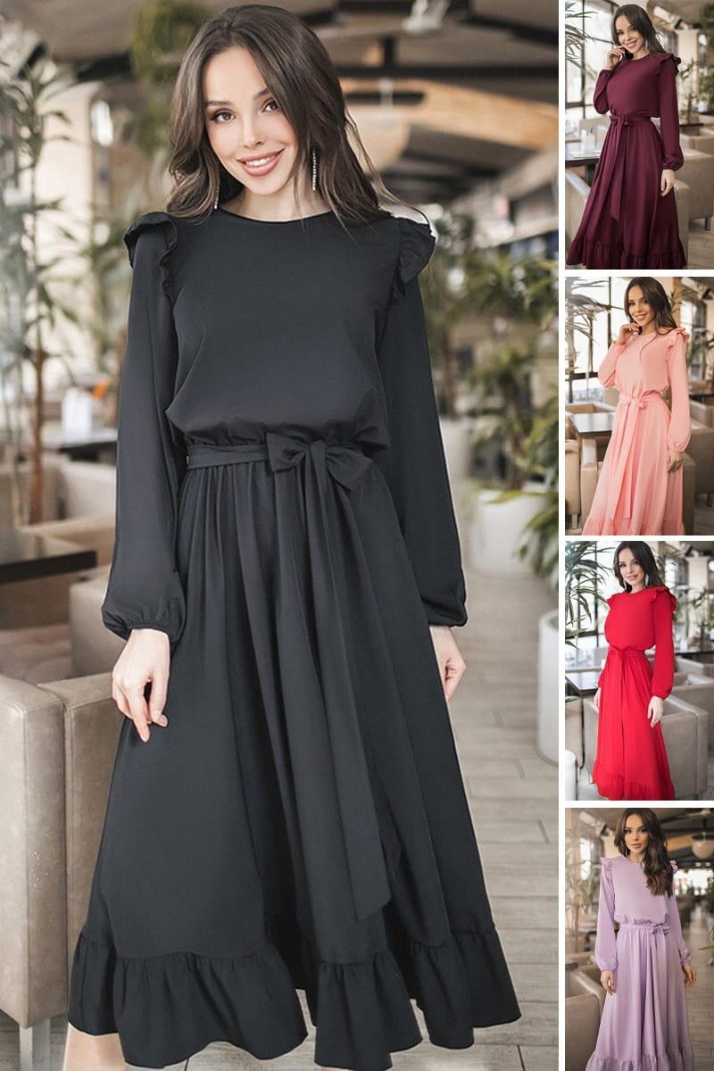 Однотонное повседневное платье Авентура