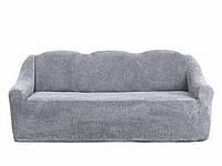 """Чехол на трехместный диван плюшевый Venera """"Sofa soft"""" mch-005 Серый"""