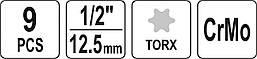 Набор отверточных ударных насадок Torx 9 шт YATO YT-10654, фото 3