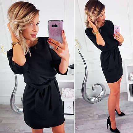 Платье мини женское черное нарядное свободное с поясом, фото 2