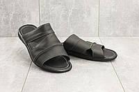 Мужские шлепанцы кожаные летние черные Yuves 99, фото 1