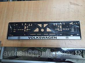 Рамка під номер з написом Volkswagen Чорна Рамка, рамка для номера