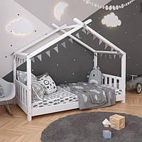 VitaliSpa детская кровать домик с бортиками 87x168 см, натуральное дерево, цвет белый