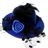 Жіночий капелюшок шпилька з вуаллю синя, фото 2