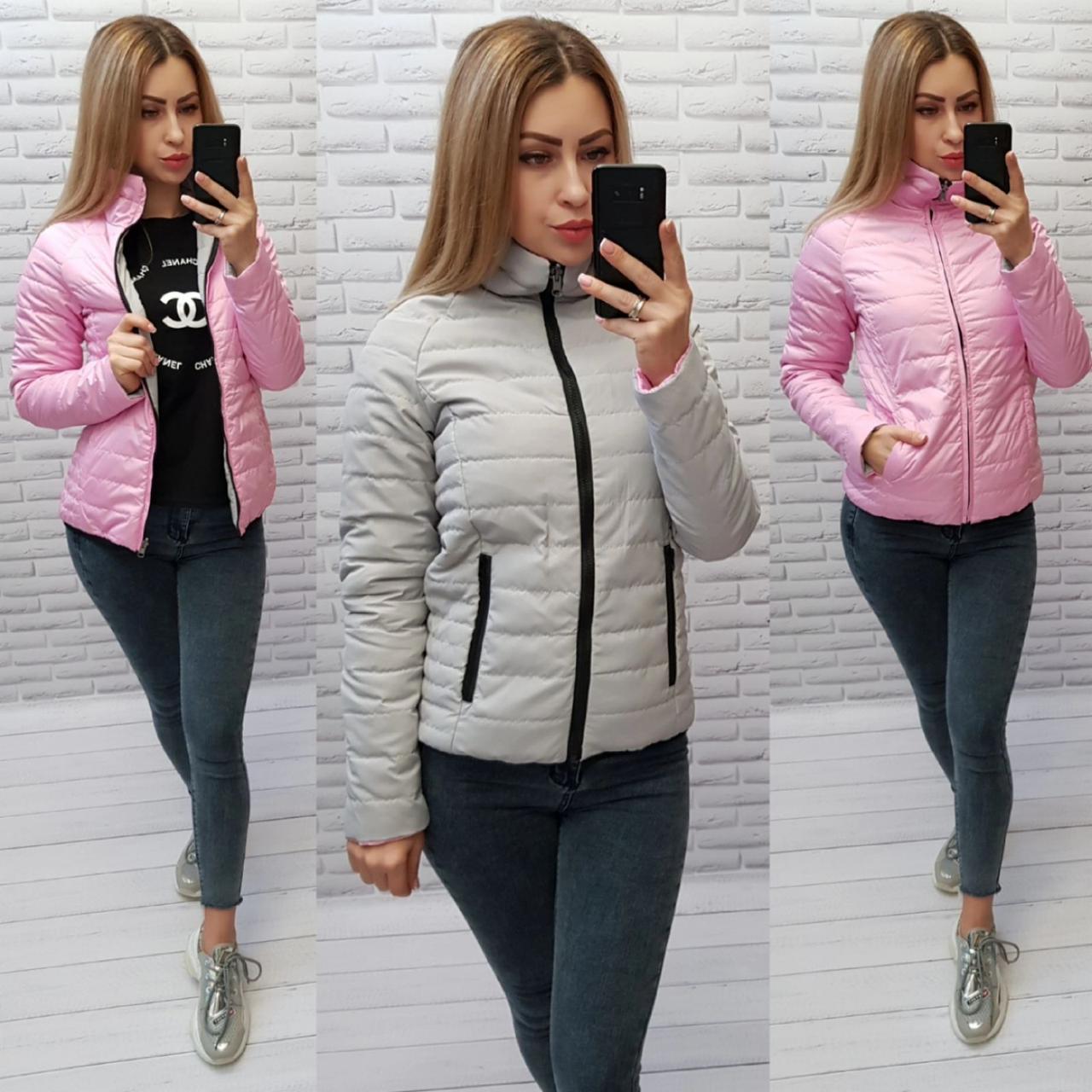 М555 Двусторонняя короткая куртка весна-осень, 2в1 серый/розовый